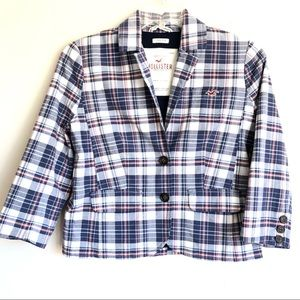Hollister Cropped Plaid Blazer Jacket